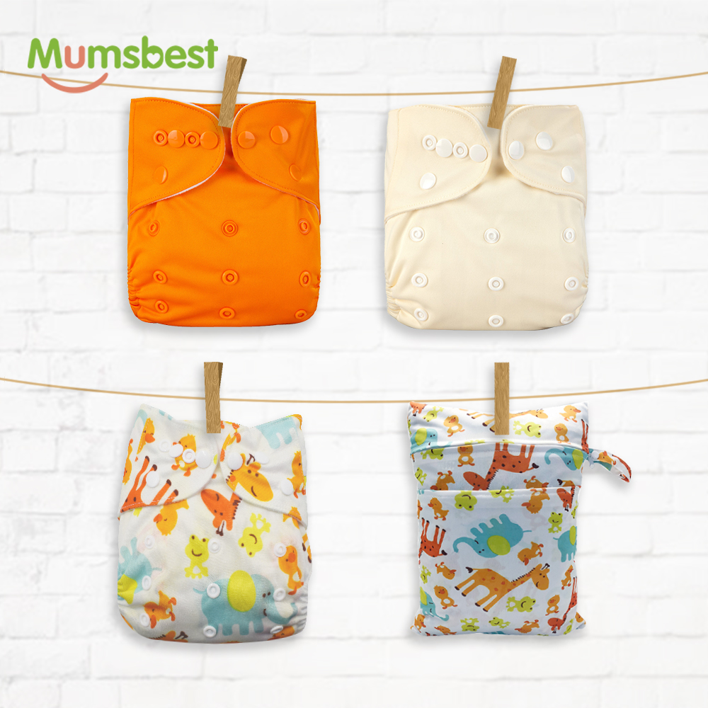 Mumsbest 4PCS/PACK Reusable Cloth Diapers With 30*40 Wet Bag Washable Waterproof Available 3-15kg Eco-Friendly Nappy Cover