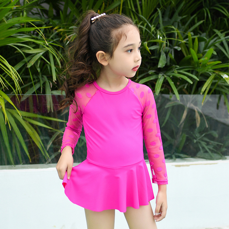 One-piece Swimsuit For Children Girls Cute Lace Joint Variety Color Baby Girls Princess Skirt One-piece Swimwear