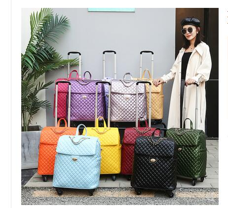 PU Women Travel Trolley Bags  Wheels Wheeled Luggage Bag Cabin Rolling Luggage Suitcase For Woman Trolley Suitcase Wheeled Bags