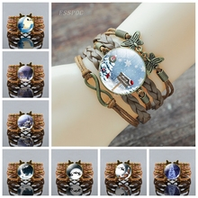 Christmas Snow House Handcrafted Bronze Brown Bracelet Fashion Glass Cabochon Jewelry Santa Claus Decorative Bangle Women Gift