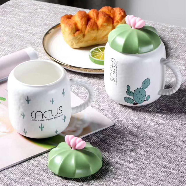 450ml Creative Cactus Shape Ceramic Mug Cup With Lid Simple Cute Water Cup Office Porcelain Mugs Coffee Cups Gift For Girls 1