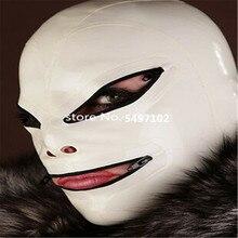 Сексуальная белая латексная маска на капюшон с черной отделкой резиновая унисекс Маска Косплей клуб Wearr с молнией сзади
