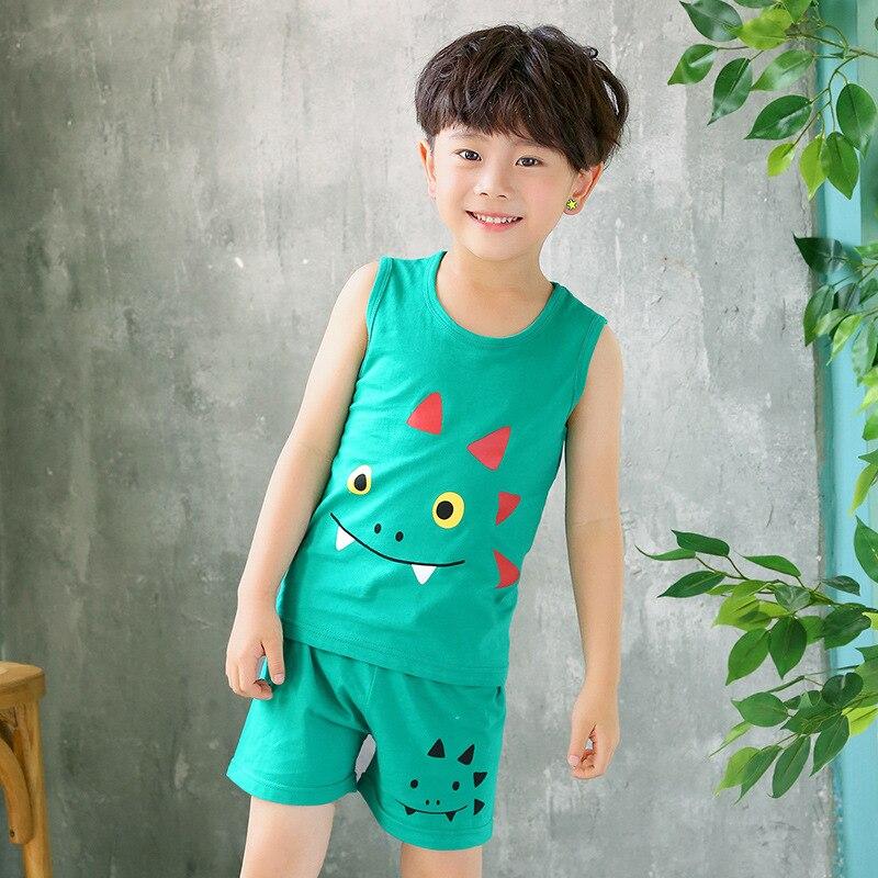Kids Clothes Summer Children Pajamas Sets Baby Girls Boys Cartoon Sleepwear Cotton Vest+Pants Clothing Suit Toddler Pyjamas Kids 7