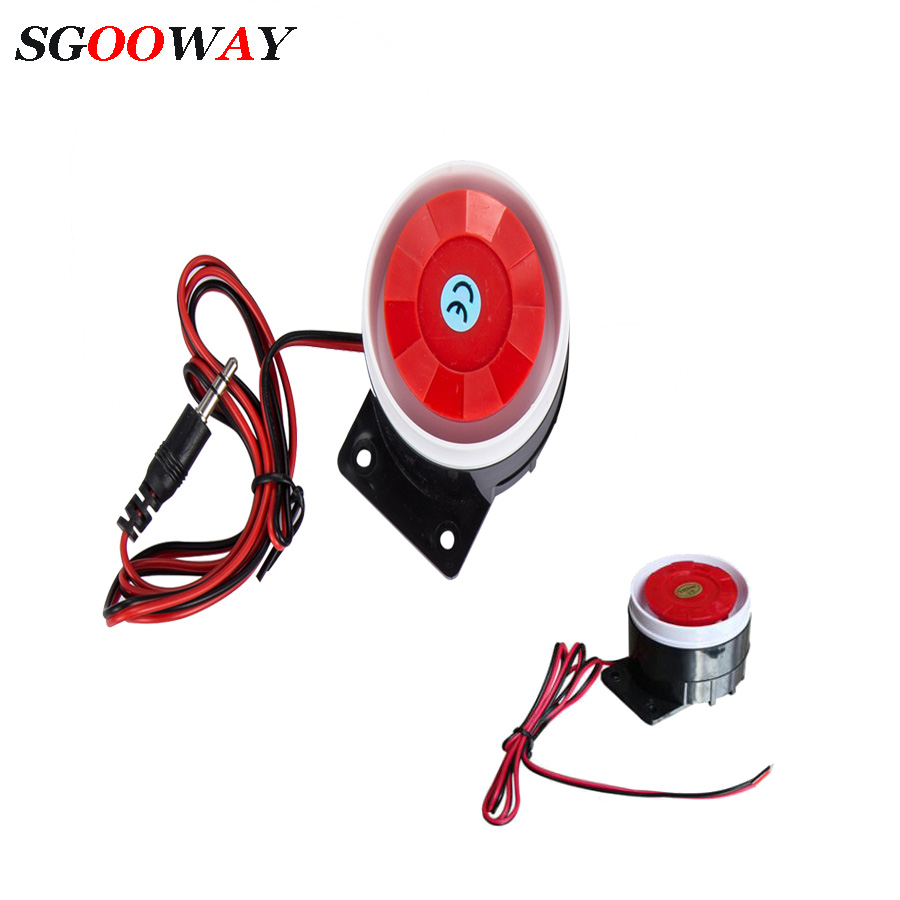 Sgooway Super Loud 120dB Sound Alarm System Compact DC 5V 12V Indoor Siren Durable Wired Mini Horn Siren For Home Security