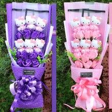 Artificial de flores buquês com kitty brinquedo favor de casamento aniversário rosas de noiva aniversário dia das mães presente dos namorados