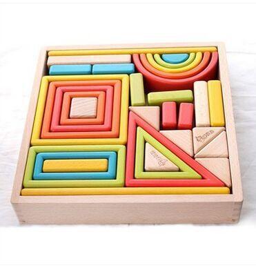 Blocs de construction en bois arc en ciel pour enfants jouets grand puzzle en bois massif pour bébé
