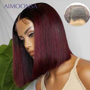 4x4 Lace Closure Wig Burgundy Lace Front Wig 130% Colored Ombre Human Hair Wigs Red Hair Straight 1B/99J For Women Remy(China)