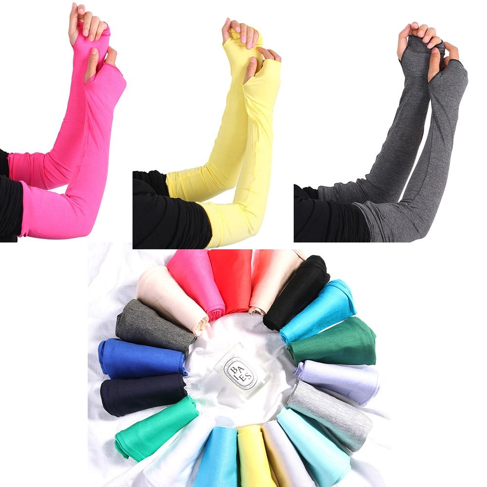 20 Colors HOT Women Multifunctional Sunscreen Arm Warmer Half Finger Cotton Long Fingerless Gloves Cuff Hand Protection Anti-UV