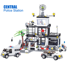 Fit City Series Police Station Central Office Car Motorcycle Mini Figures Educational DIY Building Blocks Toys For Children Gift