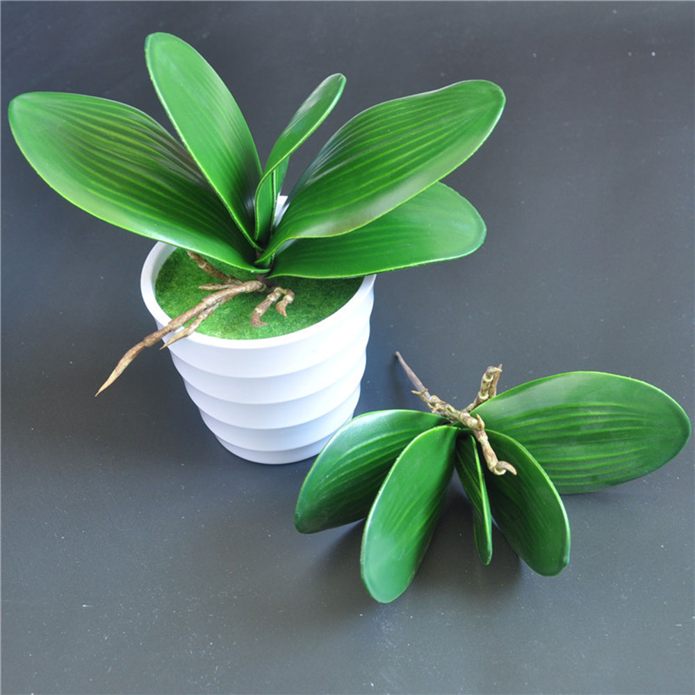 1 Pcs Phalaenopsis Plant With Artificial Leaves Decorative Leaves Flowers Floral Decorative Accessories Orchid Leaves