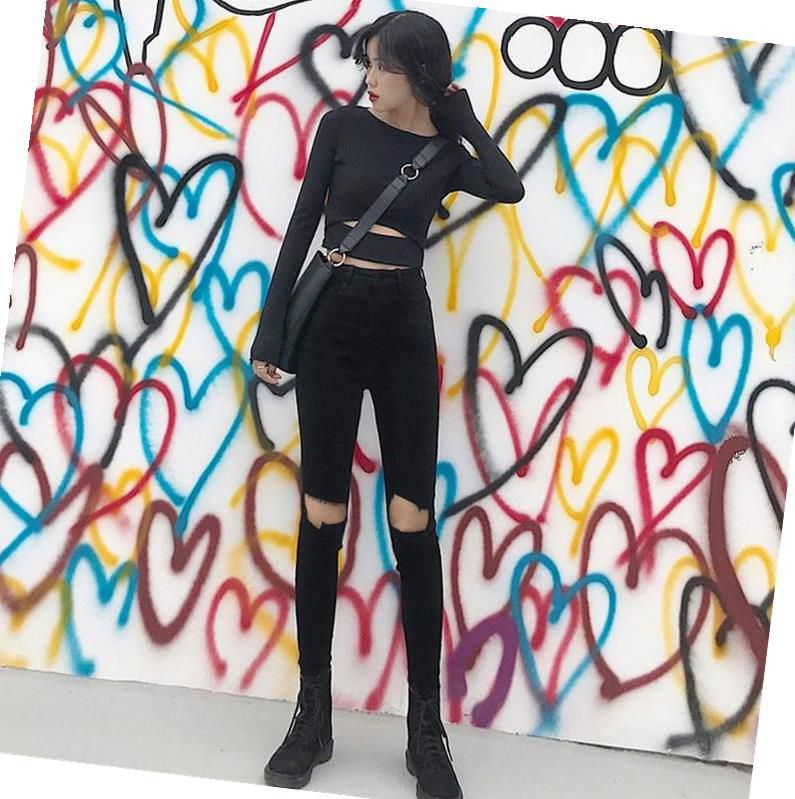 With Holes Jeans Female Black High-waisted Capri Pants Skinny Pencil Pants Tight Spring And Autumn 2019 New Style Korean-style S