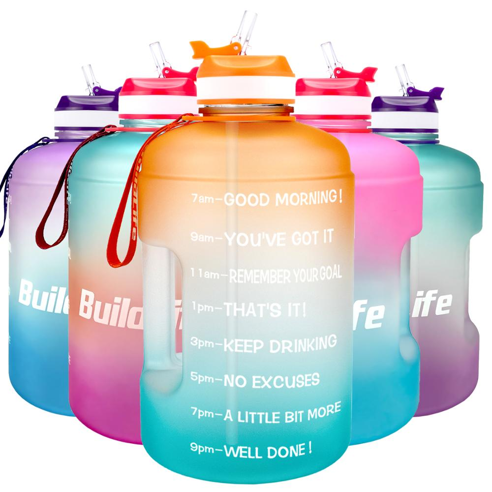 BuildLife 3.78L Water Bottle with Starw /& Motivational Time Marker Large BPA to