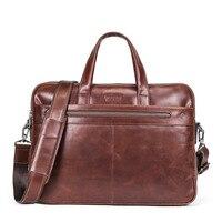 Contact's Genuine Leather Briefcase Men Vintage Messenger Bag Business Laptop Bag Handbag Shoulder Bag for 14 Laptop
