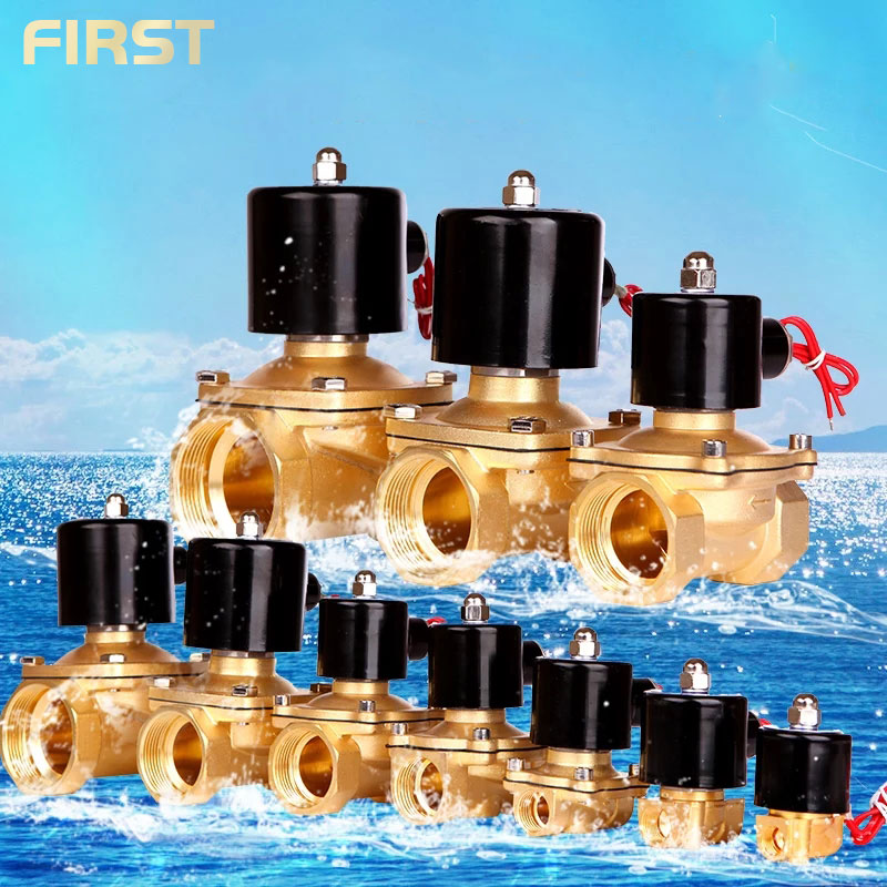 Normally Closed  Brass Electric Solenoid Valve DN8 DN10 DN15 DN20 DN25 N/C Pneumatic Valve For Water Oil Air 12V/24V/220V/110V
