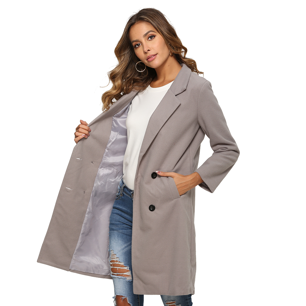 H2d9eeb3c8ccc474ca6699a60b579a48aQ 2018 New Women Long Sleeve Turn-Down Collar Outwear Jacket Wool Blend Coat Casual Autumn Winter Elegant Overcoat Loose Plus Size