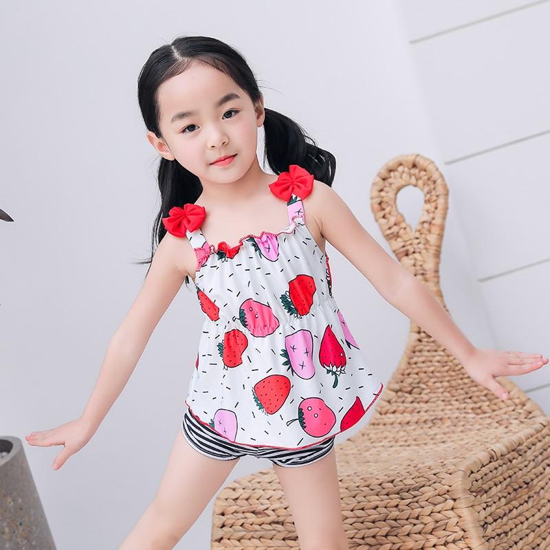 2019 New Style Girls' Two-piece Swimsuit Cartoon Split Skirt KID'S Swimwear Baby Girls Hot Springs Beach Tour Bathing Suit