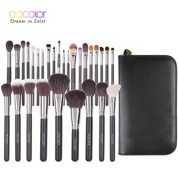 Docolor Makeup Brushes Professional Natural hair Make up brush set Foundation Powder Contour Blending Brush with PU Leather Case free shipping 2013 new arrival 12pcs natural goat hair purple makeup brushes sets with free pu leather cylinder dropship
