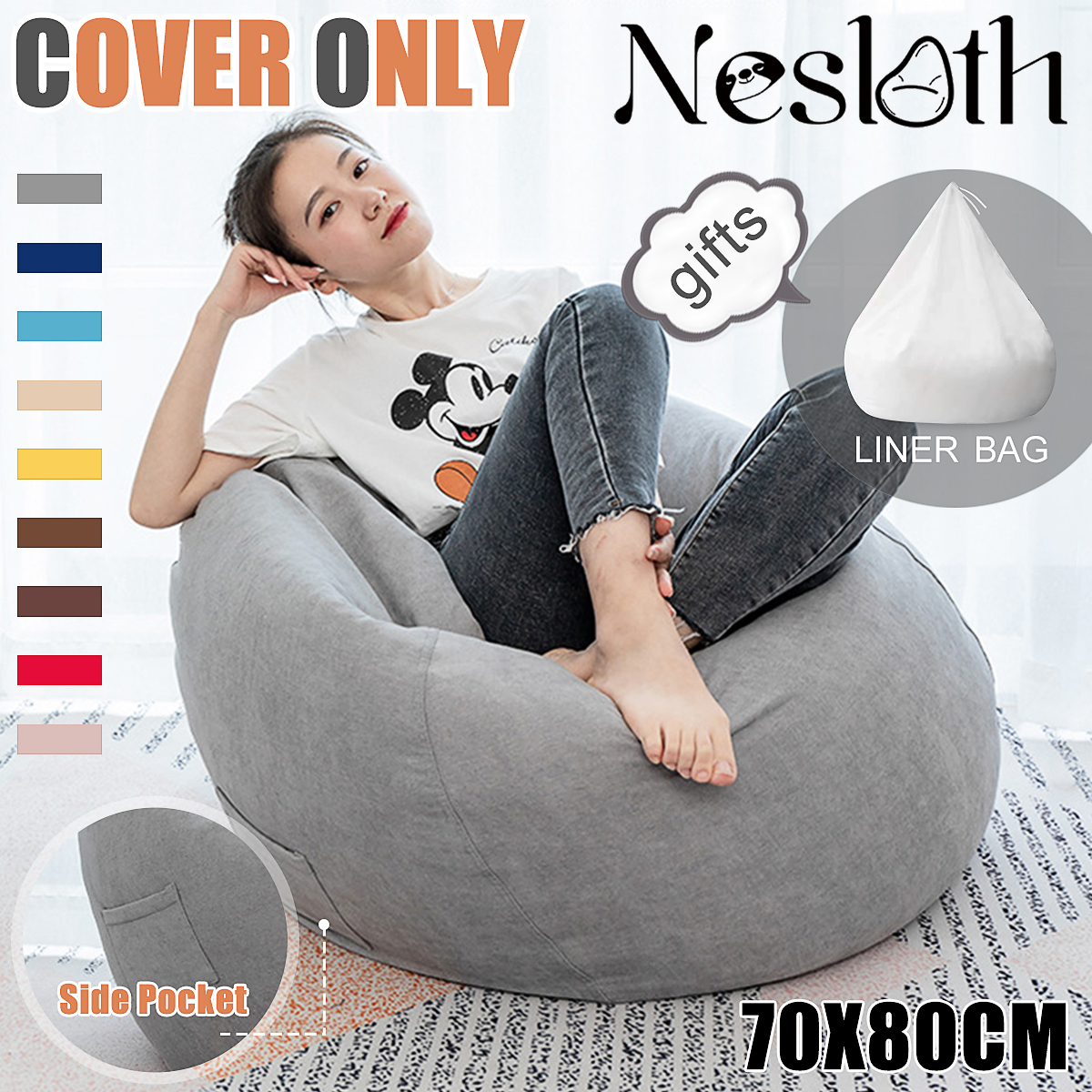 2Pcs Lazy BeanBag Sofas Cover+Inner Liner Chairs Without Filler Velvet Lounger Seat Bean Bag Pouf Puff Couch Tatami Living Room