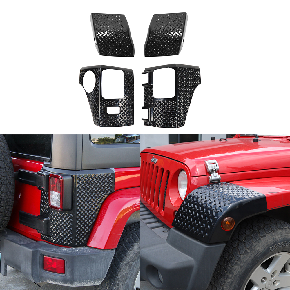 Front Wheel Eyebrow Wrap Angle Cover Tailgate Corner Decoration Trim Sticker for Jeep JK Wrangler 2007-2017 Car Accessories ABS