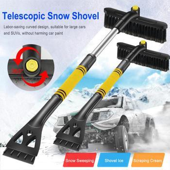 Usuwanie śniegu miotła przednia szyba samochodu skrobaczka szkło szczotka do śniegu z możliwością przedłużenia do usuwania śniegu narzędzie do czyszczenia miotła akcesoria do mycia tanie i dobre opinie CN (pochodzenie) 35cm 15cm