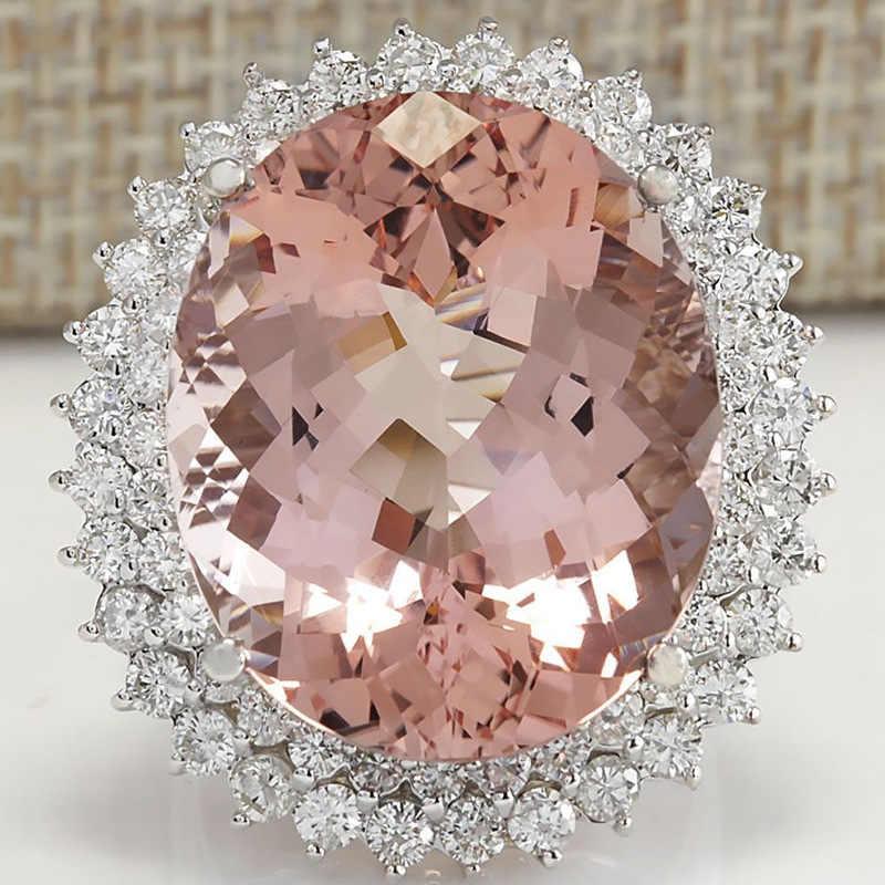 แหวนเงิน 925 เครื่องประดับขนาดใหญ่แหวนพลอยหญิง king of the ring ให้ของขวัญผู้หญิง rose Gold อินเดีย B2391