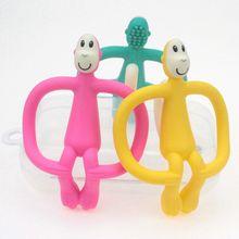 Мягкий силиконовый мультфильм обезьяна малыш молярные зубы боли инструмент дети Прорезыватель обучающий игрушечный детский душ подарок
