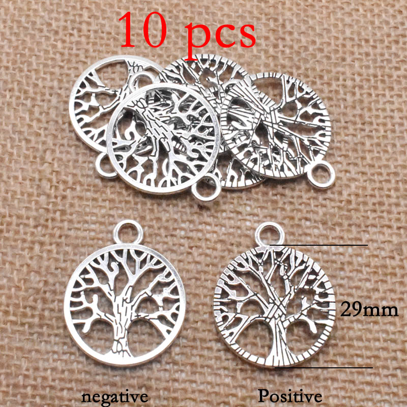 16 Styles Tibetan Antique Silver Angel Tree Of Life Charm Pendant Jewelry Making Bracelet Accessories Jewelry Findings Handmade