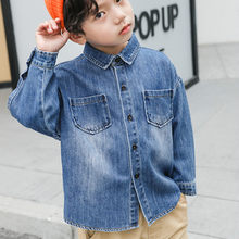 Boy Cowboy Shirt Autumn Dress 3 6-year-old Baby Long-sleeved Coat Tide Cotton Spring and Autumn Children's Shirt Korean Version(China)