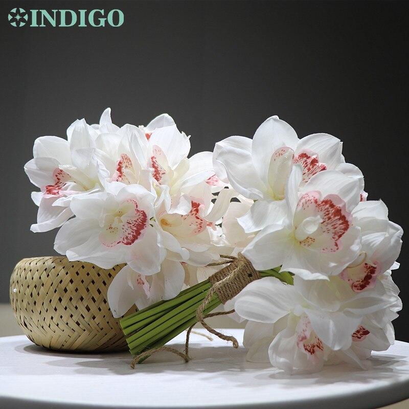 20pcs Heads Wedding bride decor cymbidium orchid Head Artificial Silk Flower