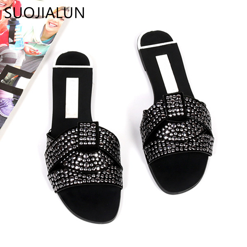 SUOJIALU Women Outdoor Summer Slipper  Plus Size 35-41 Ladies Beach Slide Flip Flops Fashion Rivet Open Toe  Female Flip Flops