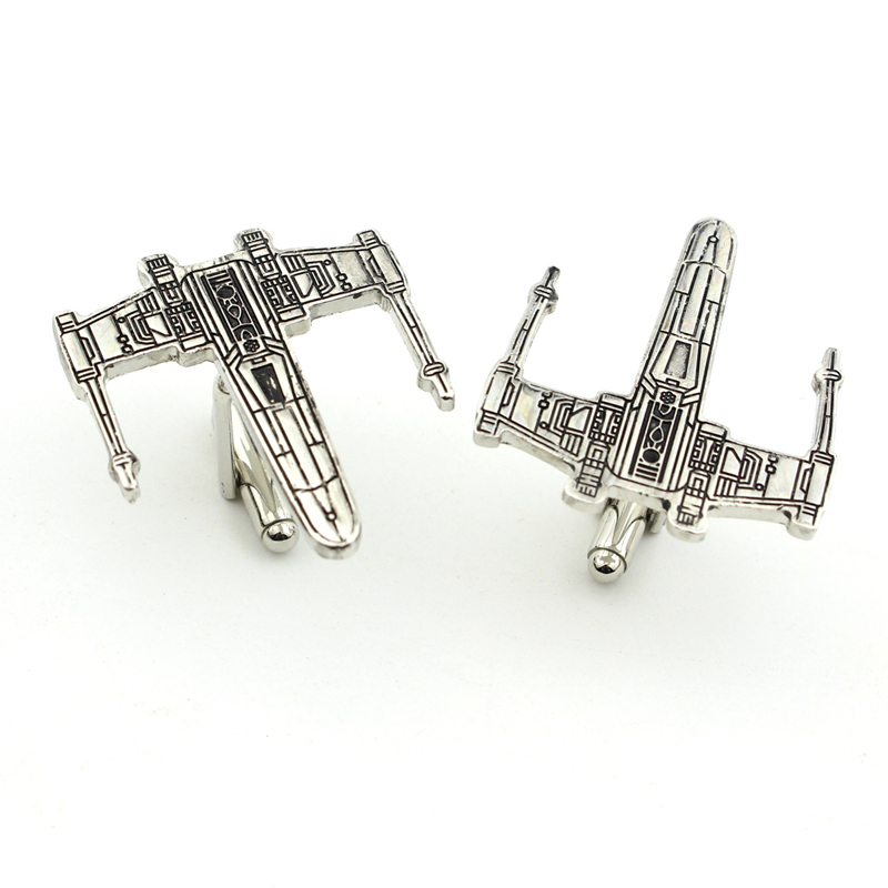 Movie Star Wars Cufflinks Airplane Model Cuff Link For Men's Shirt Party Novelty Design Alloy Cuff Buttons