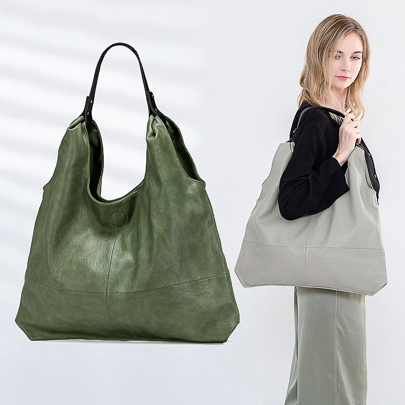 Handbags Totes Sheepskin-Leather Large-Capacity Women Soft