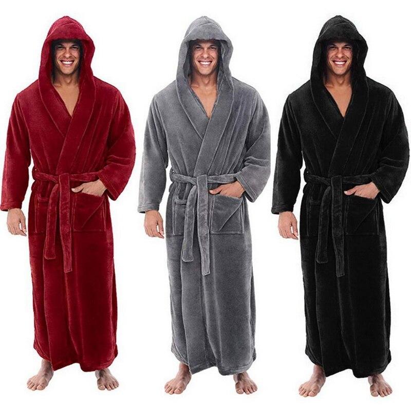 New Plus Size 5XL Men Robe Winter Flannel Soft Kimono Gown Lovers Ultra Large Long Bathrobe Nightwear Thick Warm Women Sleepwear