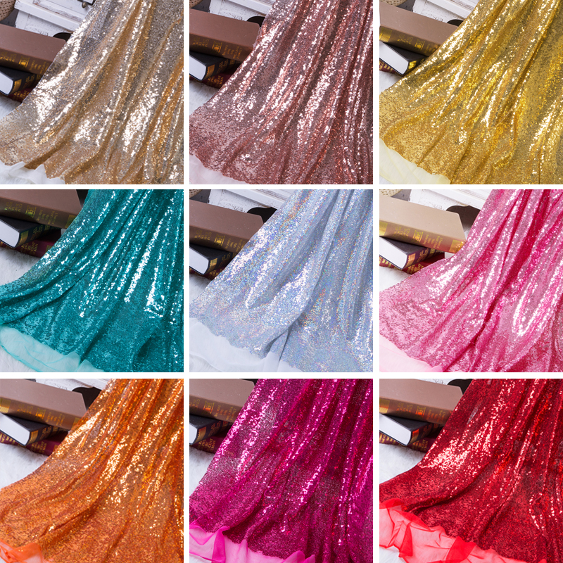 125x50cm DIY 3mm Paillette Sequin Fabric Sparkly Gold Silver Glitter Fabric For Clothes Stage Party Wedding Home Decor