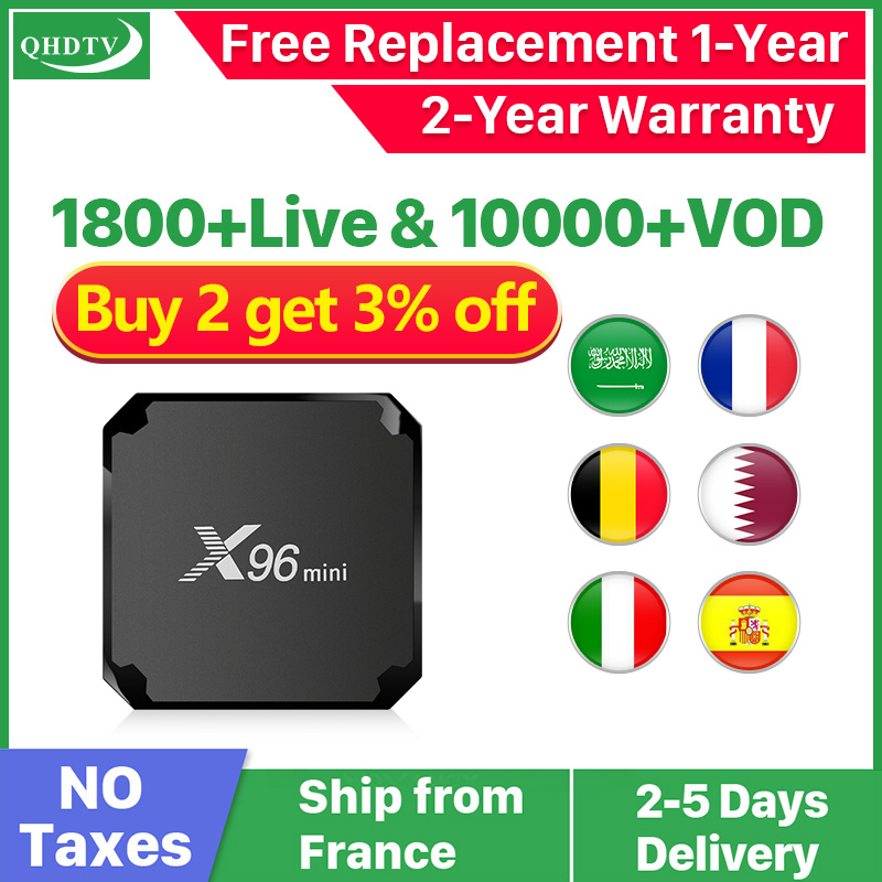 X96 Mini Arabic IPTV France 1 Year IPTV Subscription Android QHDTV IPTV French Belgium Dutch Italy Arabic IP TV X96mini Box