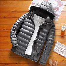Windbreaker Jacket Puffer-Coat Casual Clothing Winter Men Solid-Color Fashion Thick Male