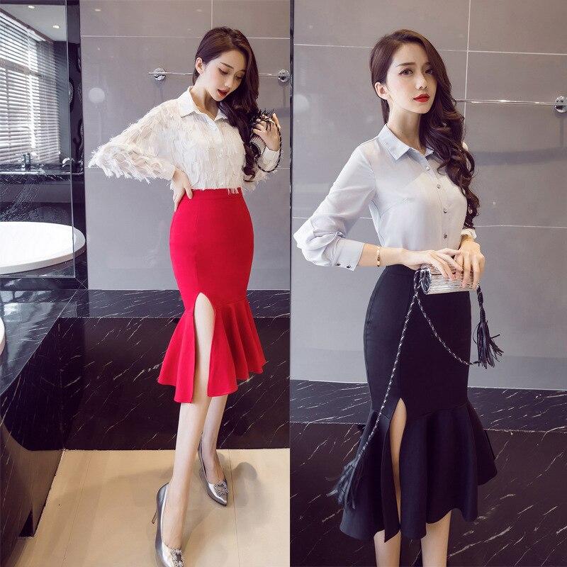 New Products Elegant Flounced Fishtail Skirt Four Seasons Skirt Skirt Irregular Slit Elasticity Wrapped Skirt Wedding-