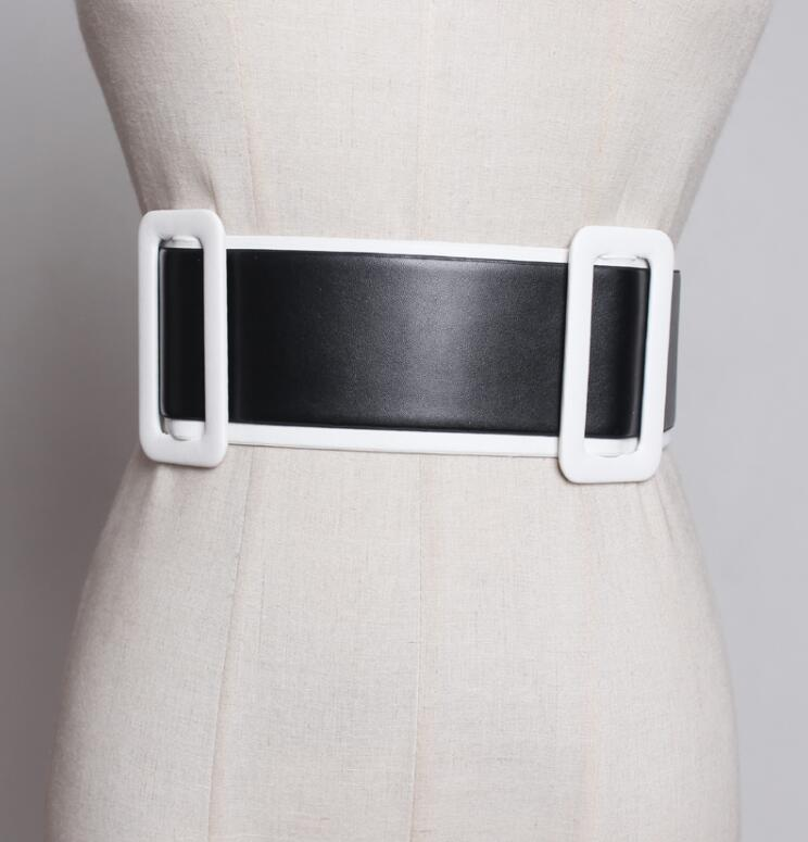 Women's Runway Fashion PU Leather Elastic Cummerbunds Female Dress Coat Corsets Waistband Belts Decoration Wide Belt R1793