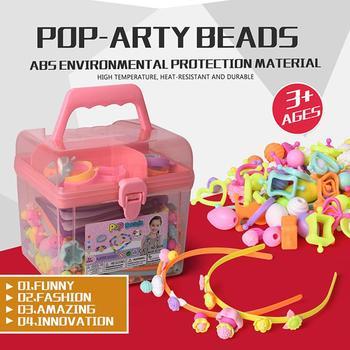 500 Uds Pop cuentas juguetes Creativel artes y manualidades para niños pulsera Snap juntos joyería kit a la moda juguete educativo para los niños