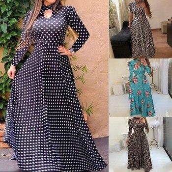 Vintage Long Dress Women Plus Size 5XL 8 Color Long Sleeve Print O Neck Button Down Flowy Digital Swin Autumn Loose Dress платье цена 2017
