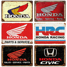 Honda Motorcycle Accessories Retro Metal Sign Tin Sign Plaque Metal Wall Decor Vintage Decor Poster Plates Man Cave Shabby Chic