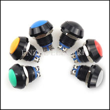 100pcs Mini Push Button Switch 12mm ball screw foot oxidized black normally open self-reset waterproof metal button switch(China)