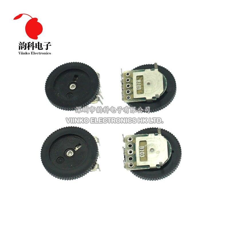 10 шт., двухциферблатный конический потенциометр B102 B103 B203 B503 B104 1K 2K 5K 10K 20K 50K 100K 3 контакта 5 контактов 16*2 мм