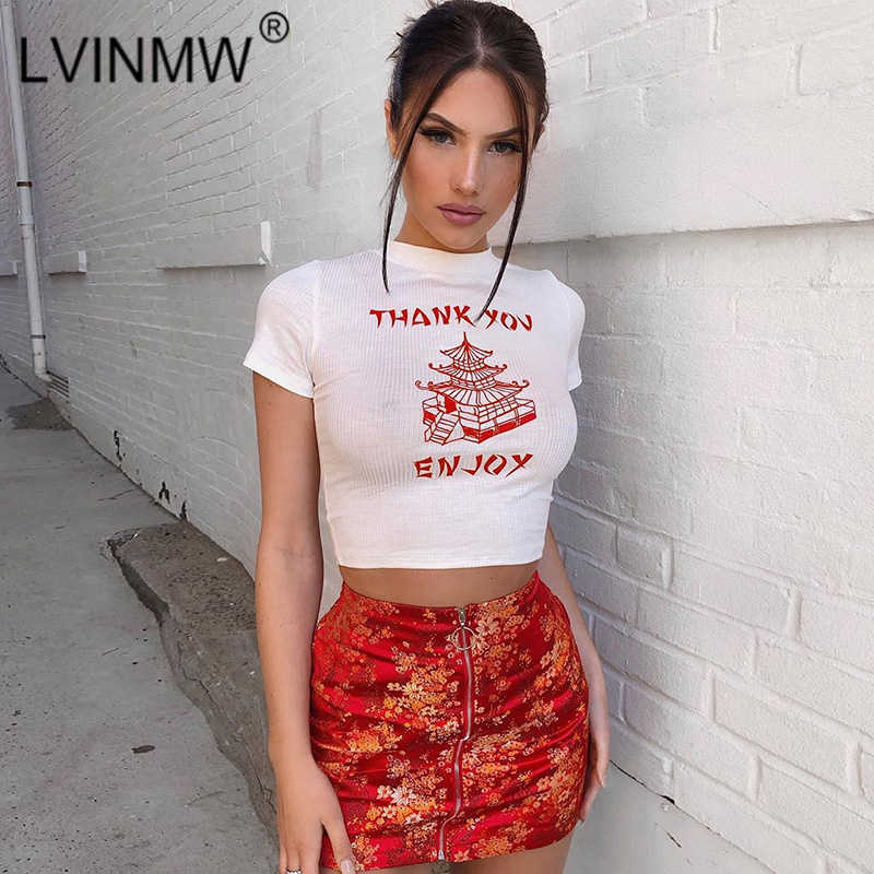 Fashion Knitted Chinese Style Print Skinny Crop Top Short Sleeve T Shirt Female