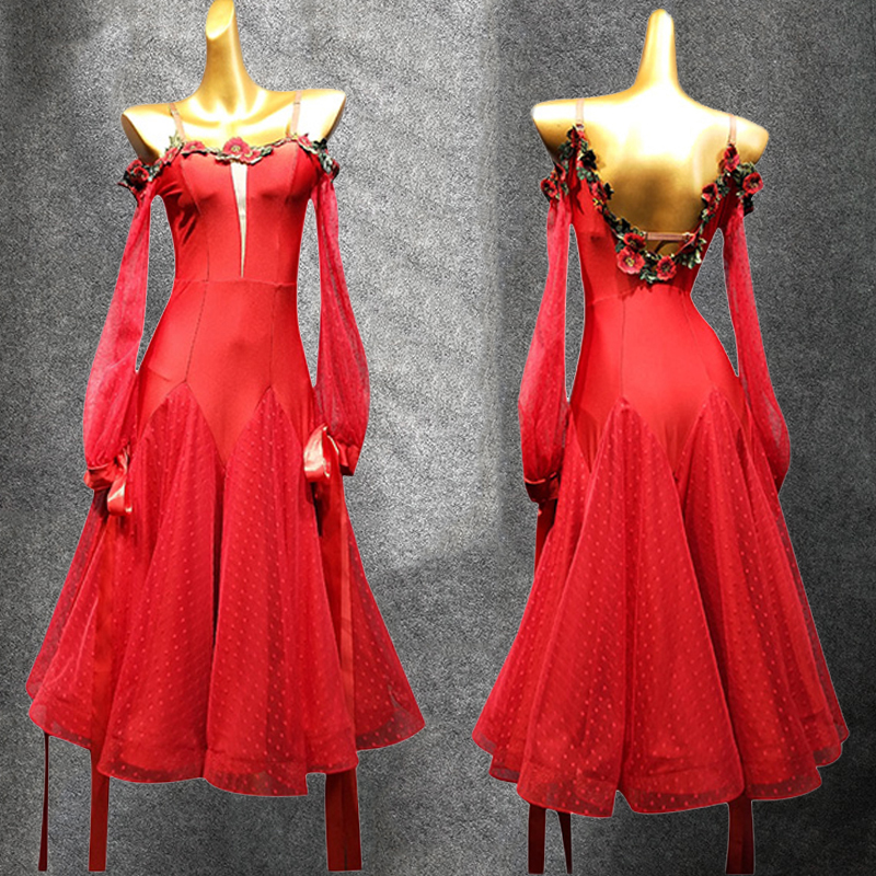 New Ballroom Dress For Dance Competition Ladies Waltz Dress Prom Party Red Long Dress Tango Wear Ballroom Dance Dresses VDB1352