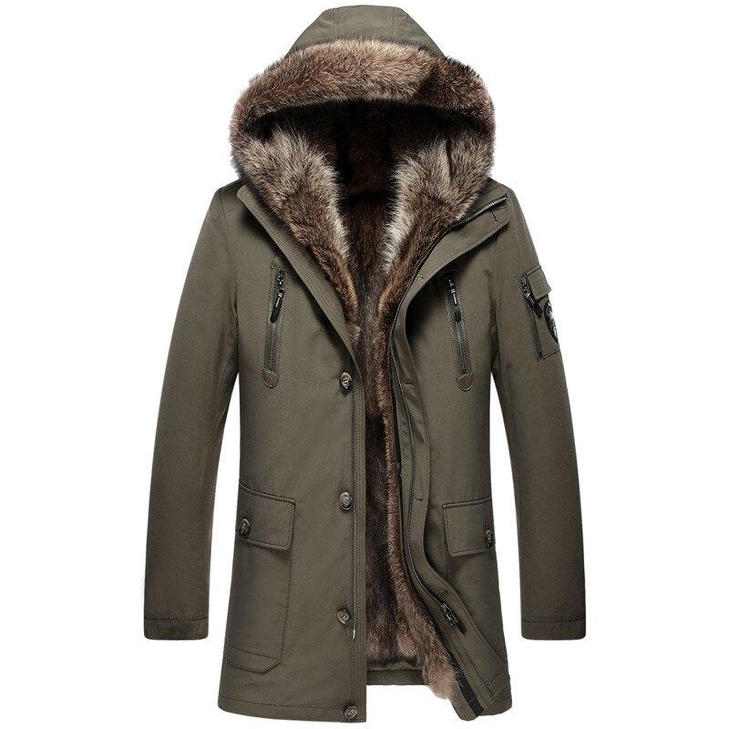 Parka Real Fur Coat Men Winter Jacket Natural Raccoon Fur Liner Warm Jackets And Coats Parkas Hombre 2020 4163 KJ2977