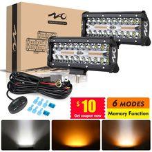 Naoevo conduziu a barra de luz do trabalho estroboscópio automático 12v 24v 2 cor 6 modos runinng nevoeiro lâmpada para carro suv caminhão atv 4x4 offroad ponto luzes led