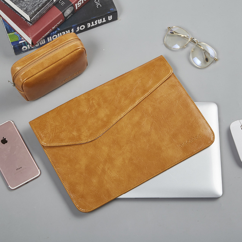 New Ultra-thin Magnetic Buckle PU Leather Sleeve Laptop Bag 14 For Macbook Air 13 2018 2019 New Pro 15 Touch Bar Notebook Case