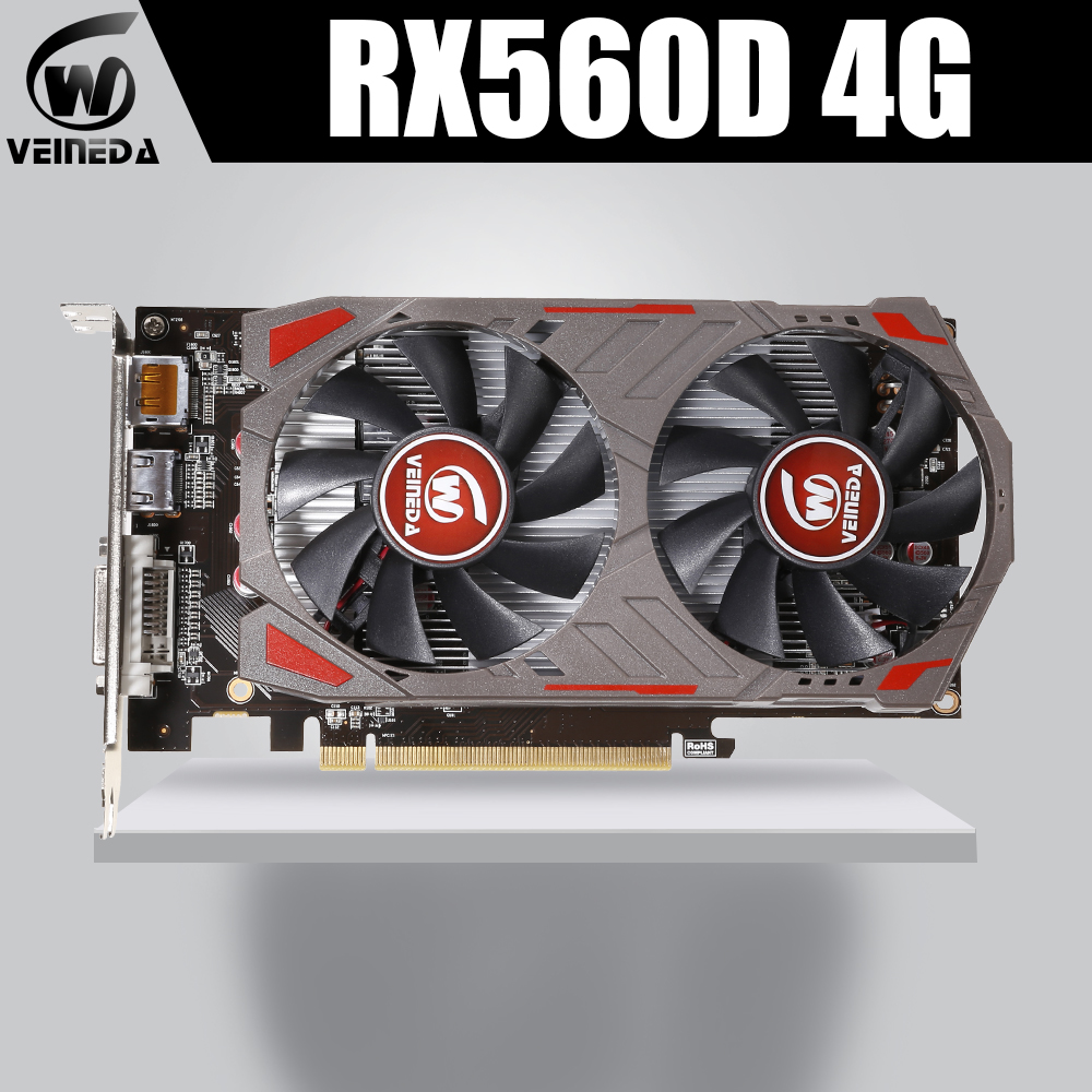 VEINIDA Graphics Card Radeon Rx560D GPU 4Gb Gddr5 128bit Pci Express 3.0 Directx12 Video Gaming For Desktop image