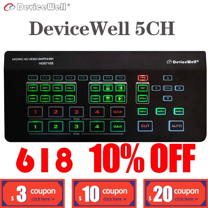 Switcher Software-Control Video Live-Streaming Devicewell 4CH-HDMI HDS7105 PGM 1CH-DP